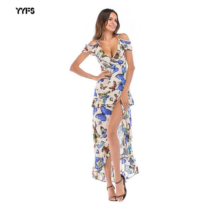 Vestido Estampado Com Decote Em V Profundo das mulheres Irregular Longo Estilingue Sexo Impresso V profundo vestido