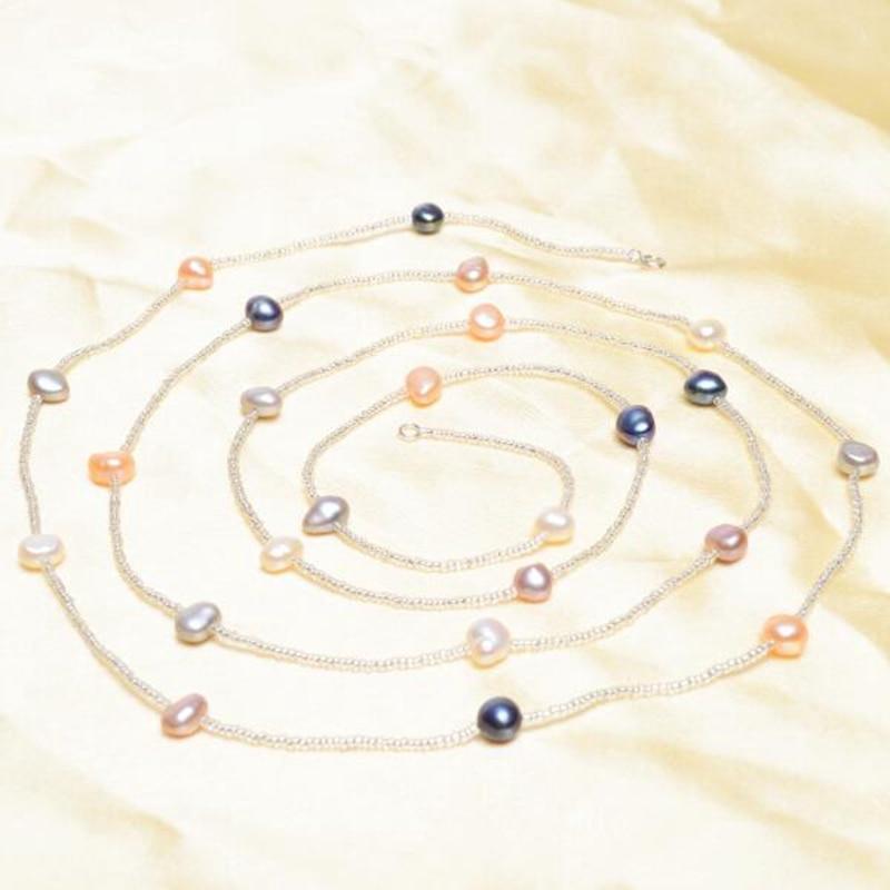ASHIQI Baroque Mutiara Air Tawar Alami Gelang & Gelang Untuk Wanita - Perhiasan bagus - Foto 2