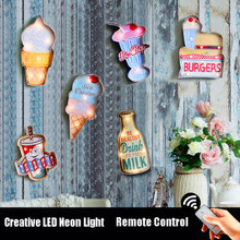 22 Styles Remote Control Vintage LED Neon Light Sign Advertising Sign for Home Bar Pub Restaurant Cafe Wall Decoration Sign N169 led hanging ice cream wall pendant light neon sign cafe bar signboard decoration