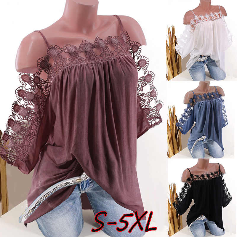 Women Floral Lace Shirts Short Sleeve Cold Shoulder Strappy Summer Top S-5XL Blouse Blusas Roupas Feminina Camisas Mujer Tops