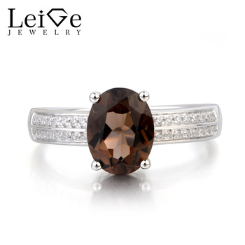Leige Jewelry Genuine Natural Smoky Quartz Ring Promise Ring Oval Cut Brown Gemstone Solid 925 Sterling Silver Ring for Women