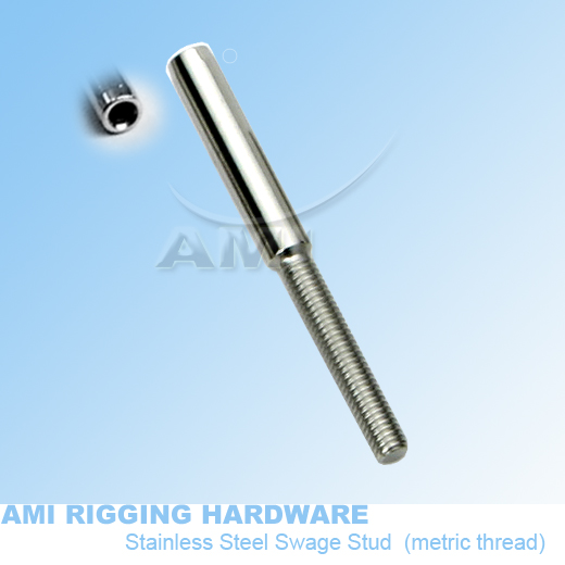M6 RH 3mm wire,73mm,T02 0306 02,Swage stud terminals, wire rope ...