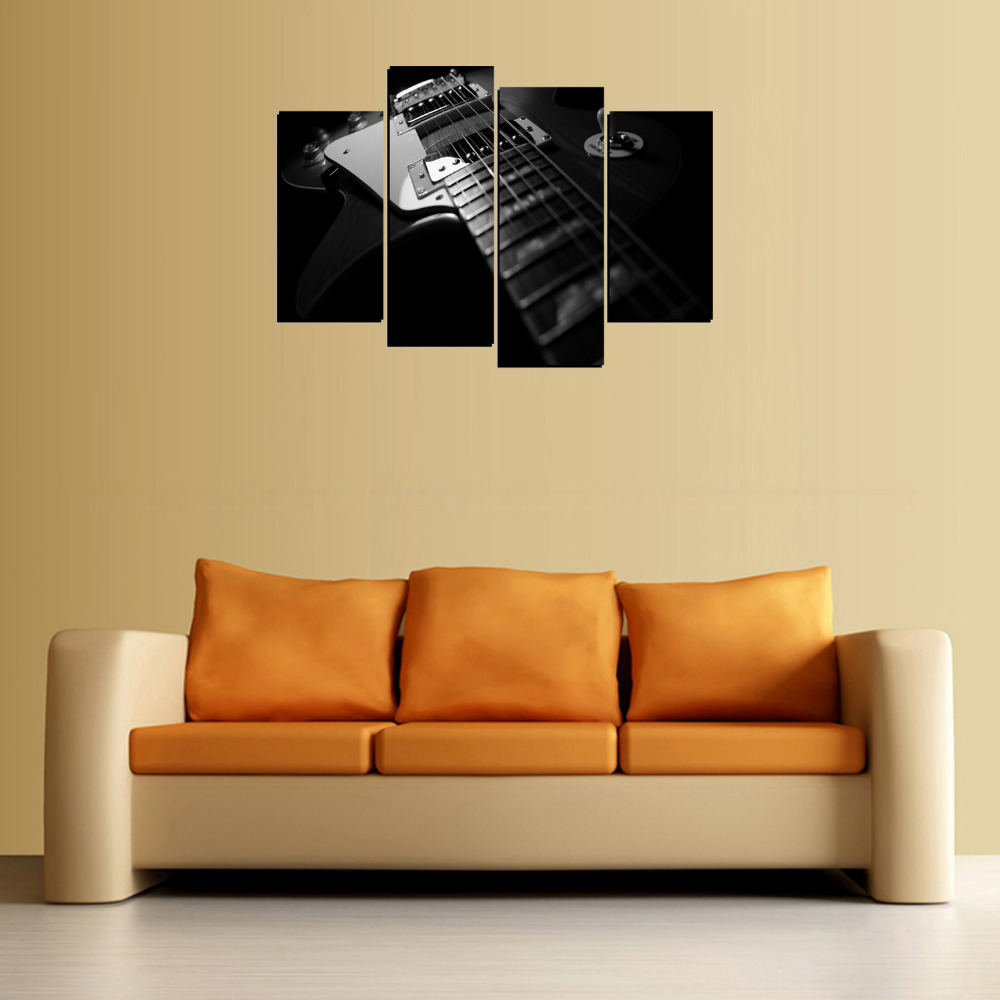 4 Panels Guitar Strings Canvas Print Painting for Living Room Wall ...