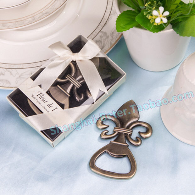 Free shipping 50box france fleur de lis pewter finish bottle opener wedding gifts wj078 in party - Fleur de lis bottle opener ...