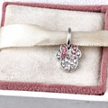 Fit Pandora Charms Minnie pave Silver Dangle with clear and Pink Crystal Beads Jewelry