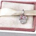 Fit Pandora Charms Minnie pavimenta Cuelga con claro y Rosa Granos Cristalinos de La Joyería de Plata