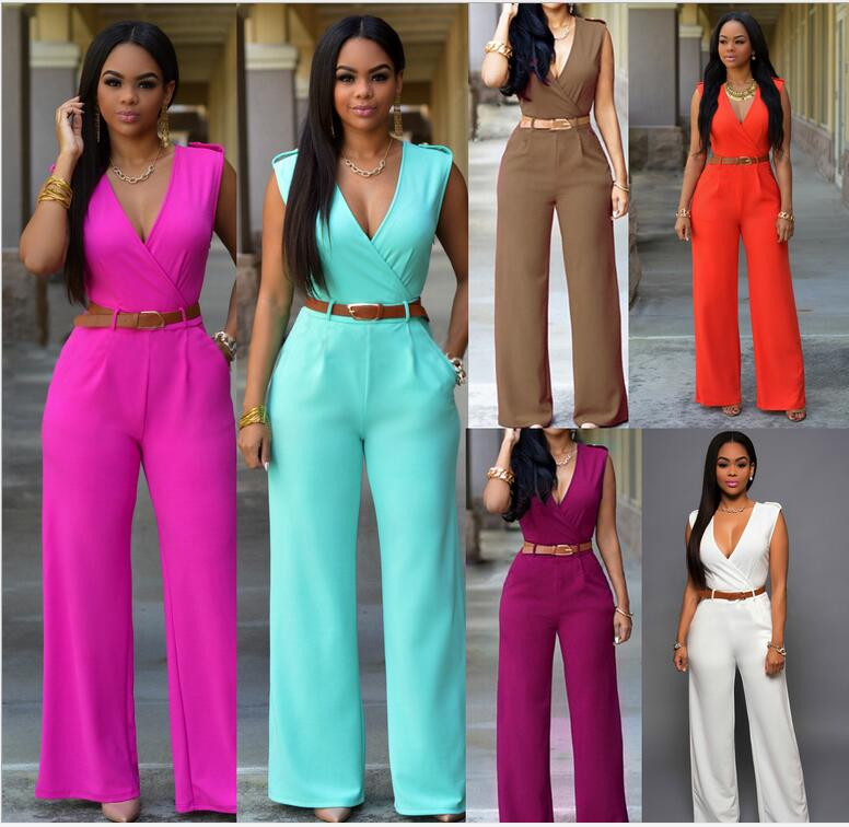 2016 New Fashion Sexy Jumpsuits Ladies Loose Slim Casual Party Overalls Women Sleeveless Night Club Rompers With belt