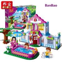 BanBao Dream House Villa Swimming Pool Bricks Educational Model Building Blocks Toy Children Girl Kid 6109 Legoing Compatible