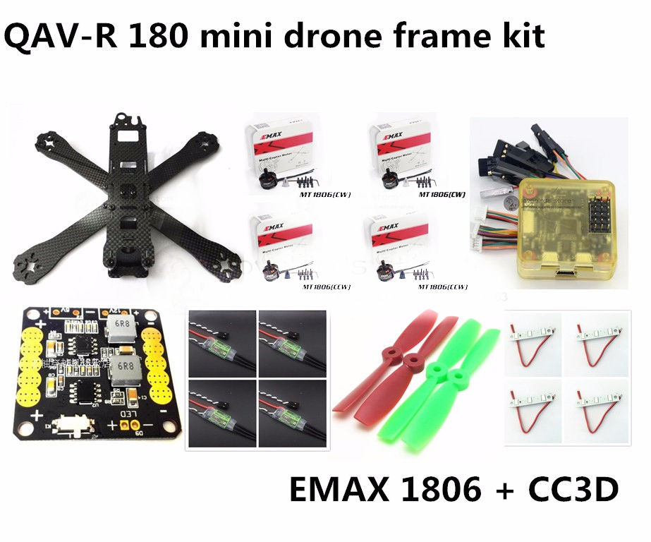 DIY FPV mini drone QAV-R 180 quadcopter pure carbon frame kit + EMAX1806 2280KV motor + CC3D / NAZE32 + Dragonfly 12A ESC 2-4S carbon fiber frame diy rc plane mini drone fpv 220mm quadcopter for qav r 220 f3 6dof flight controller rs2205 2300kv motor