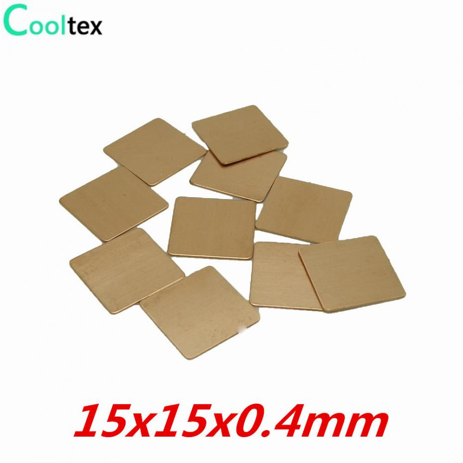 20pcs/lot 15x15x0.4mm DIY Copper Shim Heatsink Heat Sink Sheet Thermal Pad For Laptop GPU CPU VGA Chip RAM 100% New jigu laptop battery for dell 8858x 8p3yx 911md vostro 3460 3560 latitude e6120 e6420 e6520 4400mah