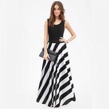 Summer Maxi Striped Casual Sleeveless Dress Office Long Print Fringe Dress Woman Party Night Black Bohemian Loose Work Sundress cartoon print striped night dress