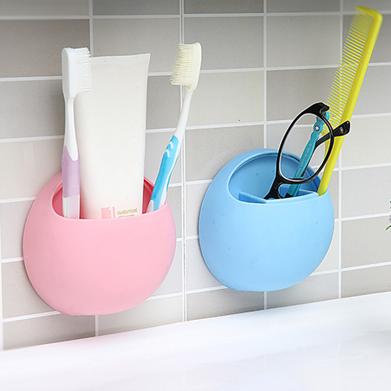 Cute Toothbrush Holder Wall Suction Cup Organizer Bathroom Shelf Storage Rack Bathroom Kitchen Accessories image