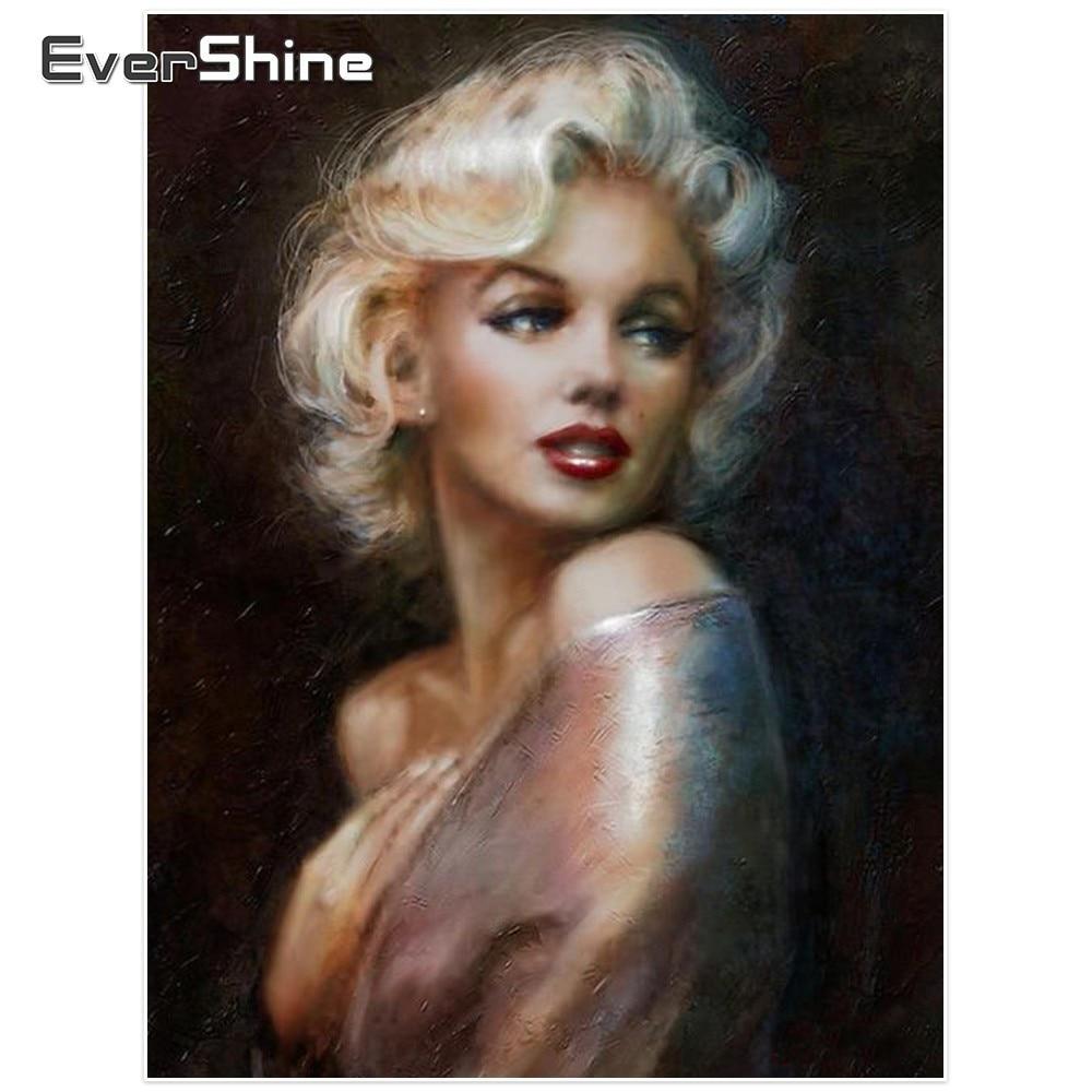 Evershine diamant schilderij Marilyn Monroe volledige vierkante diamanten borduurpakket portret foto's steentjes Diamond mozaïek Decor