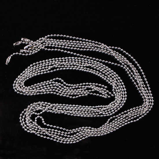 Jewelry Accessories Findings Chain Necklaces Women Men Dia 2.4mm 55cm Stainless Steel Ball Beaded Chain Necklaces fit Pendants