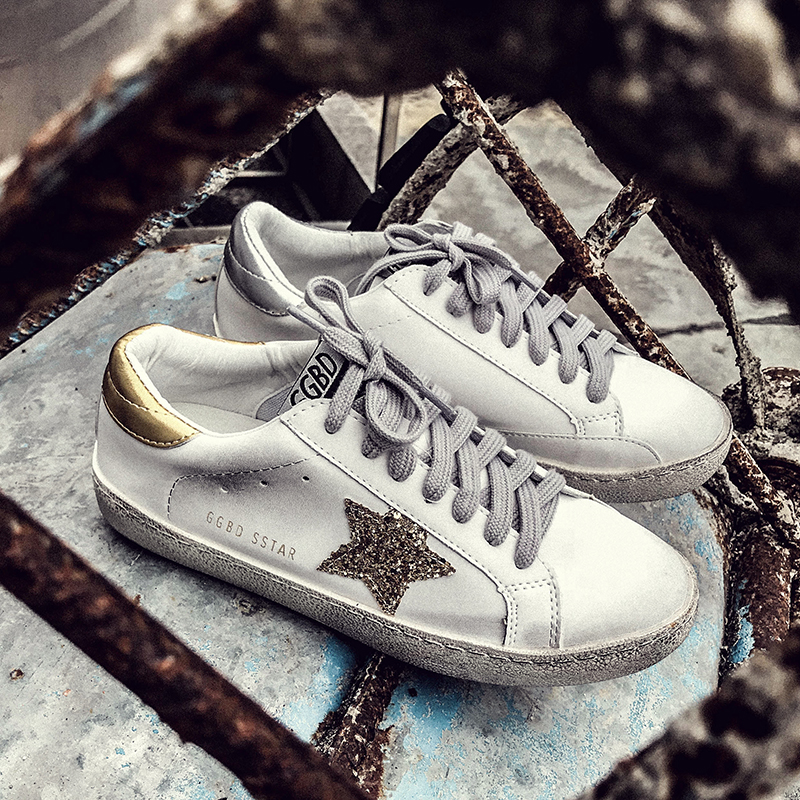 Women Shoes Casual Leather Do Old Dirty Shoes Women Flat Sequins Star Golden Glitter Trainers Woman Sneakers Female goose shoes woman burst leather casual shoes golden star women do old dirty shoes female lace up distressed leather vintage flat shoes
