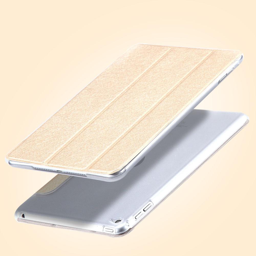 FLOVEME Elegant Silk Skin PU Leather Case For iPad Mini 4 Ultra Thin Matte Case Cover for iPad Mini 4 3 Folded Clear Back Shell