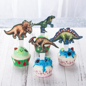 Image 3 - Dinosaur Cake Insertion Dinosaur Theme Party Decoration Balloons Banner Stickers Childrens Party Festival Decor Supplies