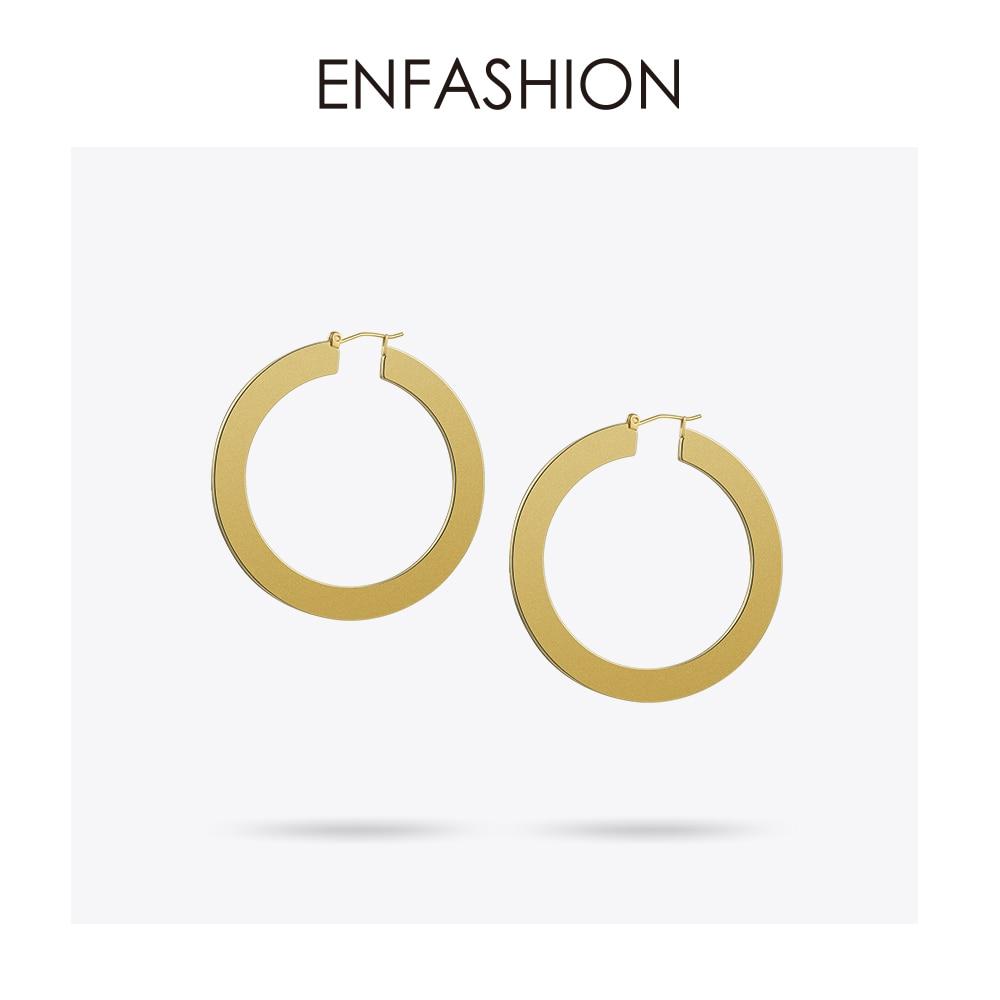 Enfashion וינטג עגילי חישוק גדול מאט זהב - תכשיטי אופנה