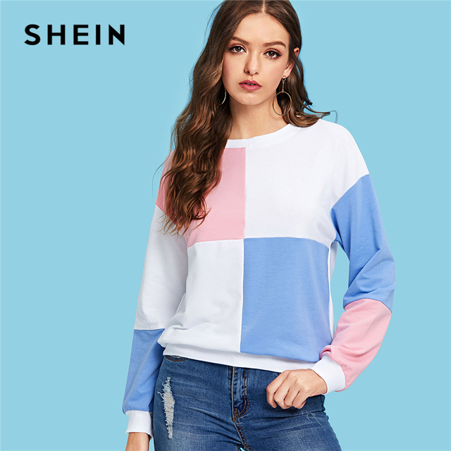 0a2a91e9207e SHEIN Multicolor Minimalist Preppy Color Block Raglan Long Sleeve Round Neck  Sweatshirts Autumn Women Casual Campus Pullovers