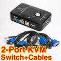 T USB 2.0 KVM Switches 2 Port Switch Splitter Box PS/2 Controller + 2 VGA SVGA Cable