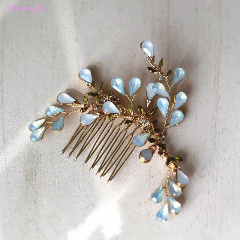Jonnafe Small Opal Crystal Hair Comb Bridal Hair Accessories Gold Women Headpiece Handmade Wedding Hair Piece Jewelry jonnafe handmade red flower wedding prom hair clip jewelry gold leaf bridal hair accessories comb headpiece