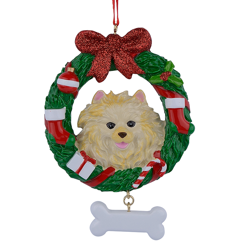 Pomeranian Wreath Resin Crafts Shiny Christmas Ornaments Hand Painted Easily Personalized as for Pug Owners gifts or home decor