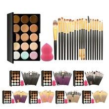15 Colors Makeup Concealer Powder Cream Palette +20Pcs Eye Shadow Eyebrow Eyelash Makeup Brushes Set + 1Pcs Soft Cosmeitc Puff
