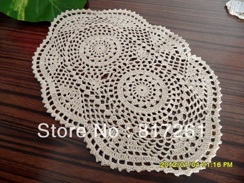 Free Shipping Oval Uk Design Lace Table Runner Handmade Knitted
