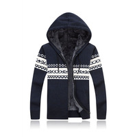 Winter Knitted Sweater Hooded Sherpa Fleece Lined Cardigan Warm Coat Casual Tops 2019 Chic Boho Knitting Sweaters