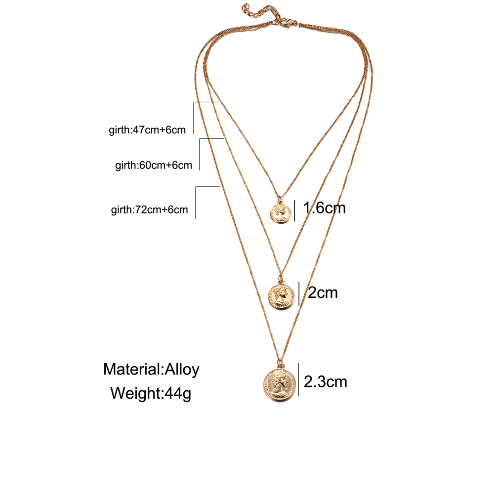 17km Vintage Coin Pendant Necklaces For Women Fashion Figure Long