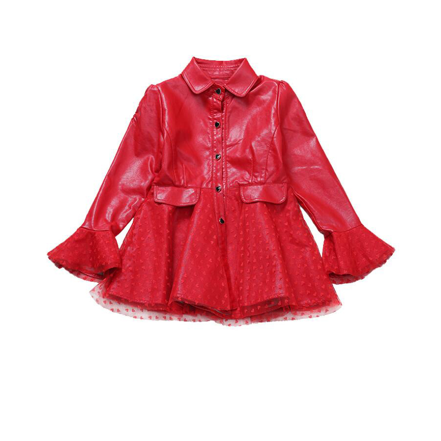2019 New Children Leather Jacket For Girls Clothes Red PU Leather Coat for Kids Girl Lace Long Sleeve Fashion Jacket Windbreaker