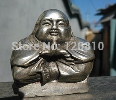Asian Collectibles Decorated Handwork White Copper Buddha Exorcism Statue
