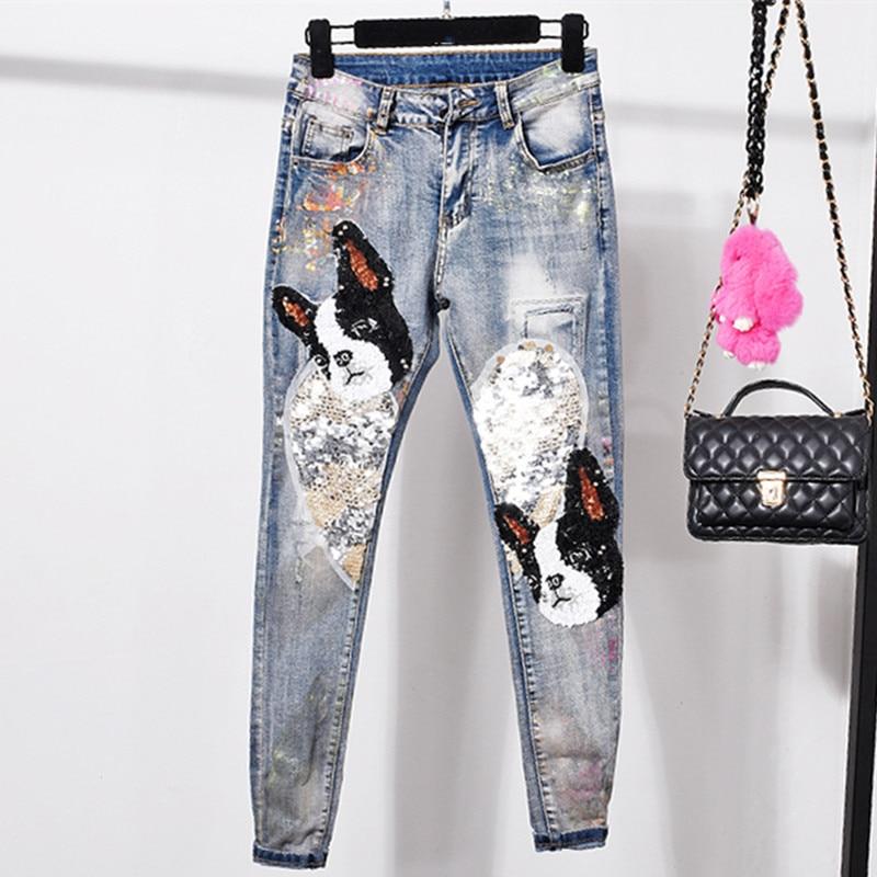 Kadın Giyim'ten Kot Pant.'de Kadın Kot Pantolon Payetli Patchwork Skinny Jeans Sonbahar Mavi Kot Kadınlar Casual Slim Denim Pantolon Streç Bayan Kot'da  Grup 1