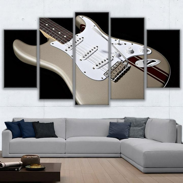 Home decor living room wall art frame hd prints pictures 5 pieces electric guitar canvas painting