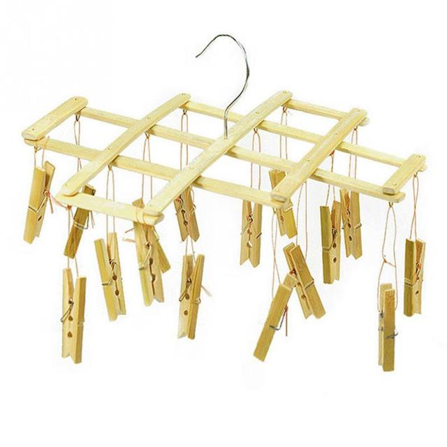 Portable Multifunctional Bamboo Folding Clothes Hanger Rack With Clip For Traveling Home School