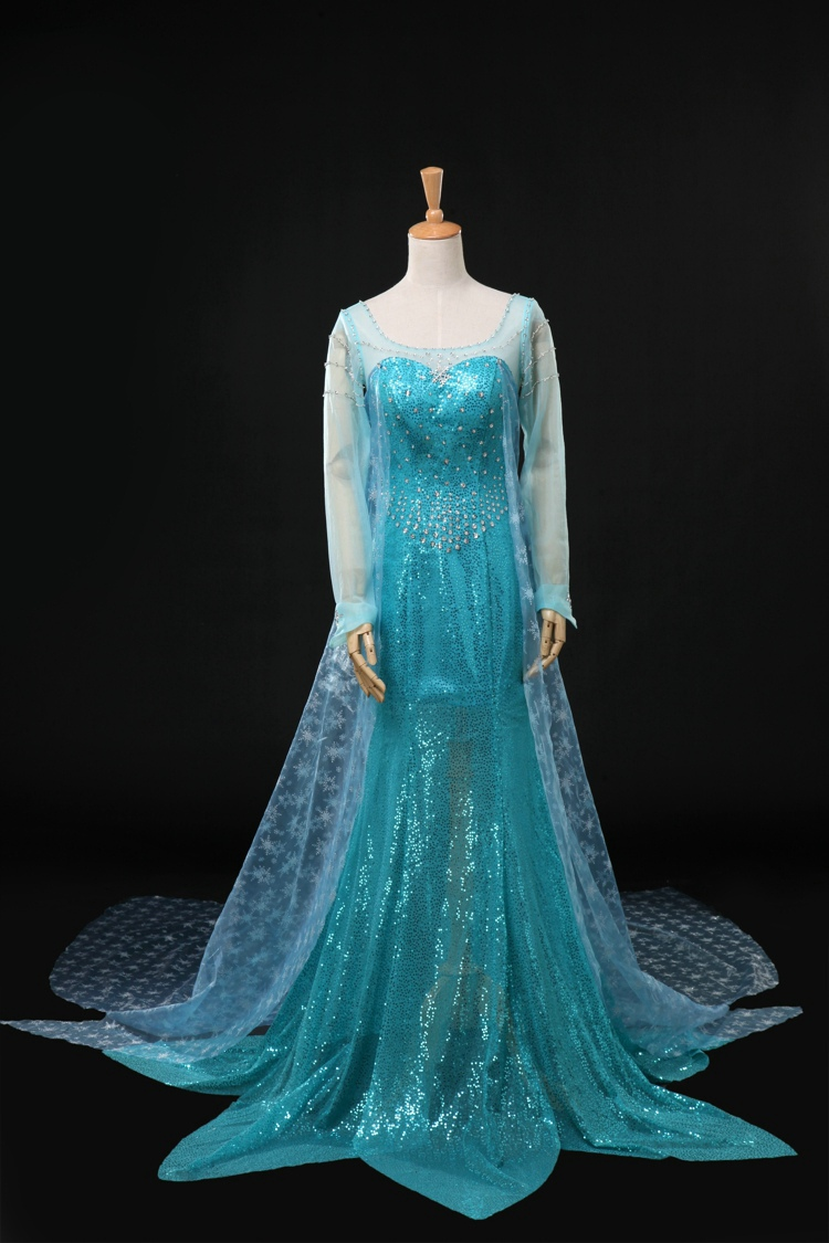 elsa abend-kleid ballkleid cocktailkleid sexy lang blau cosplay snow  romance cosplay snow queen houaiersha