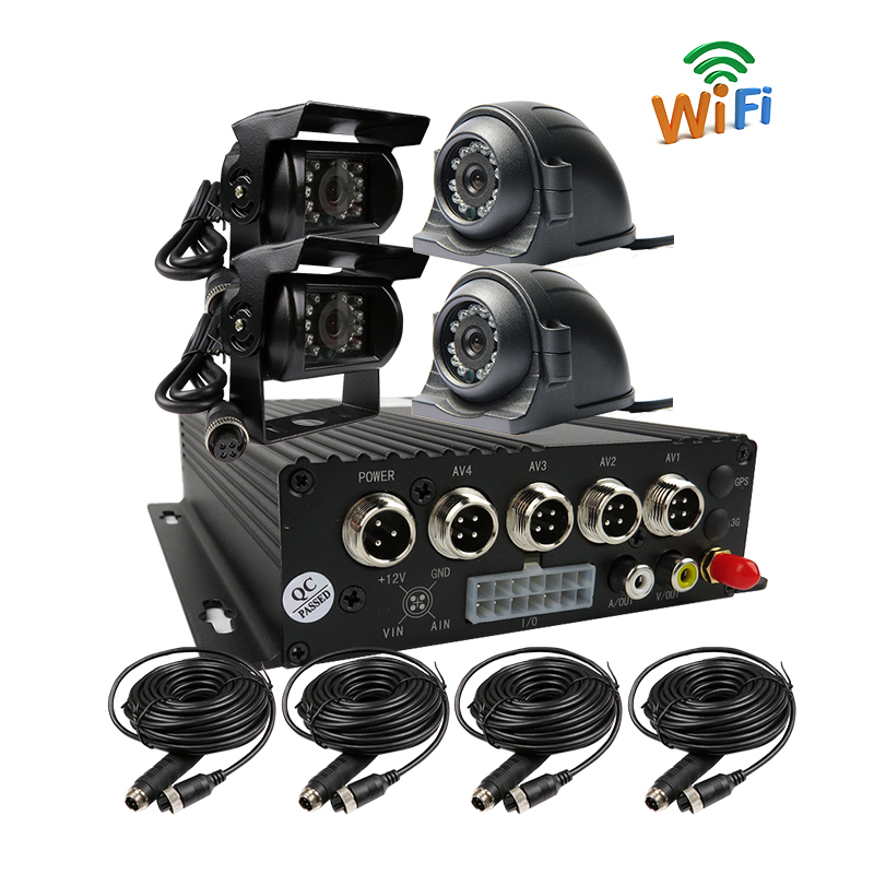 Free Shipping 4CH 256GB SD WiFi Mobile Car DVR Recorder Real time Recording Back Rear Side Front View Metal Car Camera System