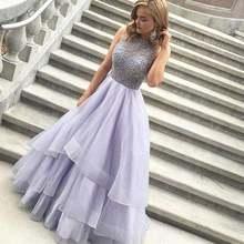 2018 без рукавов с бисером Многоярусное фиолетовое платье для