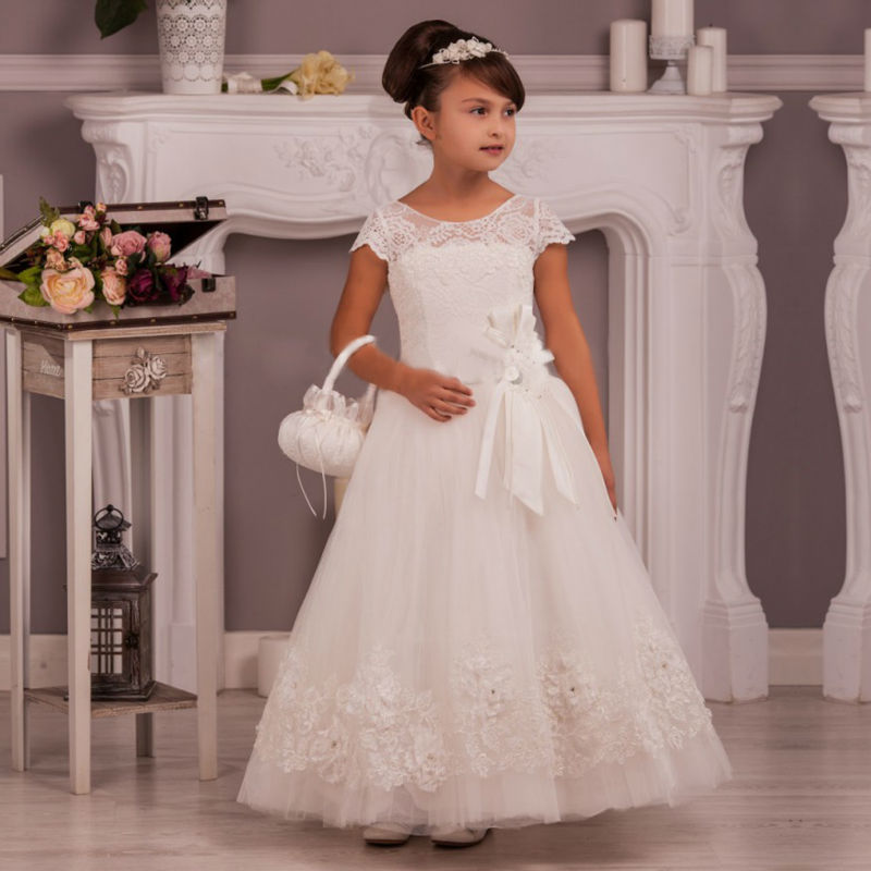 купить Pageant Dresses for Girls Glitz Sleeveless Pageant Dresses Little Girls Long Flower Girl Dress White Mother Daughter Dresses дешево