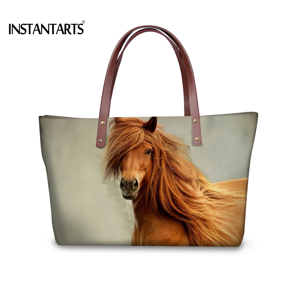 INSTANTARTS Brand Design Crazy Horse Printed Women Handbags Tote Shoulder Bags for Ladies Shopping Fanshion Travel Crossbody Bag