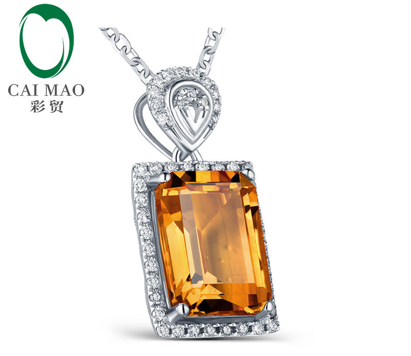 Emerald Cut 3.15ct Citrine & 0.20ct Diamond Accented Engagement 14kt White Gold Pendant Caimao Jewelry - 3