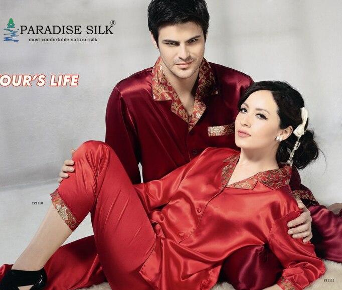 Men Silk Pajamas 100% Pure Silk Couples Pajamas Top Bottom Set For Men Red Size L XL XXL