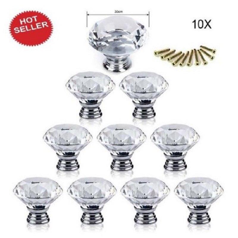 10 Pcs Poignée De Porte Tiroir Poignées poignées pour meubles 30mm Diamant Plaqué Forme Cristal Verre Armoire Nouvelle Cuisine Accessoires