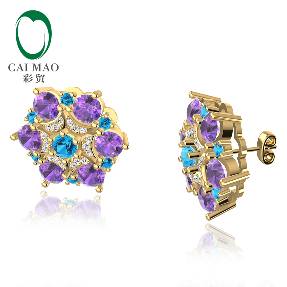 5.24ct Natural Amethyst and Topaz 0.24ct Diamond 14kt Gold Earrings Stud for Women starry pattern gold plated alloy rhinestone stud earrings for women pink pair