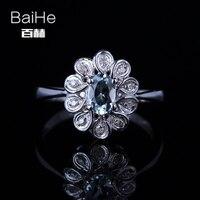 BAIHE Sterling Silver 925 0 362ct Certified Sea Blue Flawless Oval Cut Genuine Aquamarine Women Trendy