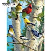 5D DIY Diamond Painting Bird Crystal Diamond Painting Cross Stitch Colored Birds Forest Tree Needlework Home Decorative BJ883