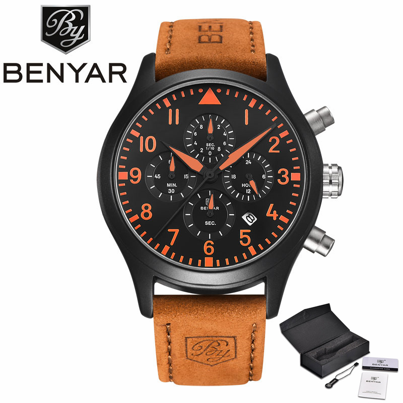 BENYAR Aviator Date Genuine Leather Band Wristwatch Casual Mineral Glass Quartz Sport Men Watches Analog Army Outdoor Relogio hot sale fashion pilot aviator military army style dial scrub leather band quartz analog casual outdoor sport watch for men