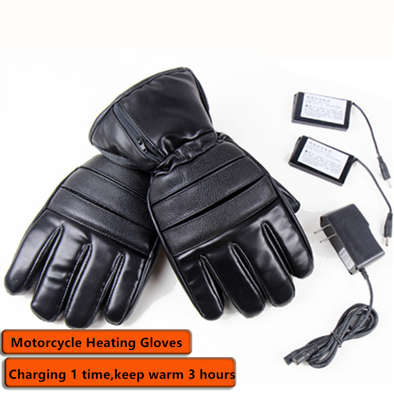 Winter USB Hand Warmer Electric Thermal Gloves Rechargeable Battery Heated Gloves Bicycle Ski Cycling Motorcycle Leather Gloves