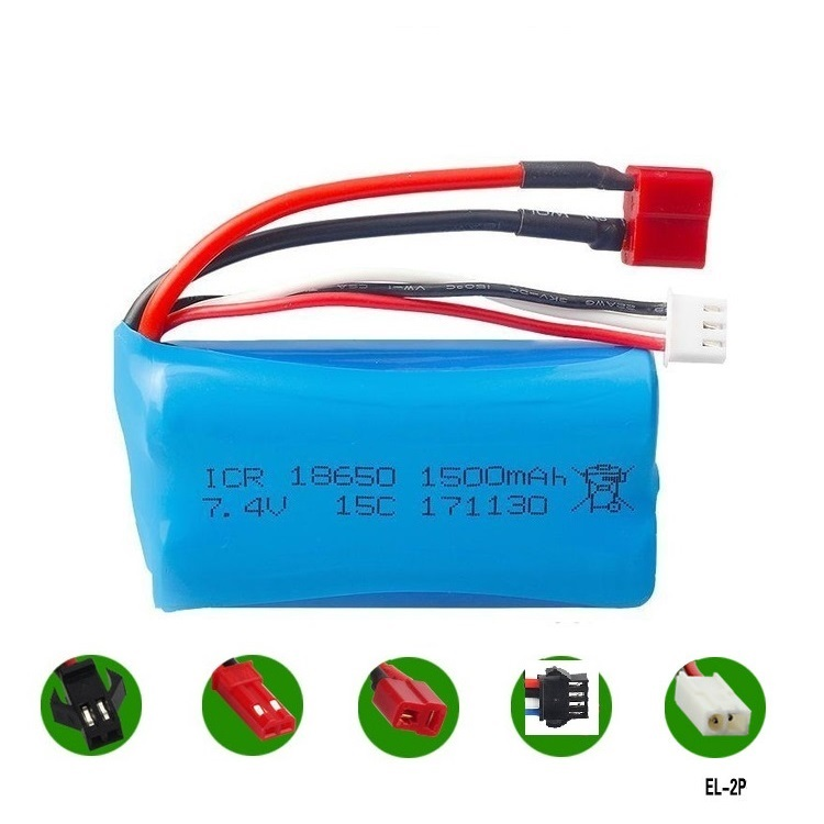 <font><b>7.4v</b></font> <font><b>1500mah</b></font> Li-ion <font><b>battery</b></font> 15c 18650/USB <font><b>charger</b></font> for wltoys 12428 12423 RC helicopter F45 RC boat h101 UD002 SM T JST EL-2P image