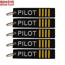 New Fashion 5 PCS Remove Before Flight Key Chains Jewelry Accessories Embroidery Label Pilot Ring Chain for Aviation Gifts